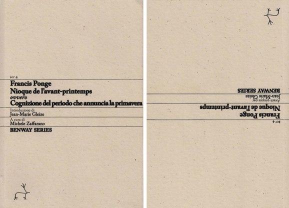 Francis Ponge, Nioque de l'avant-printemps, ovvero Cognizione del periodo che annuncia la primavera, Copertina Benway Series 4