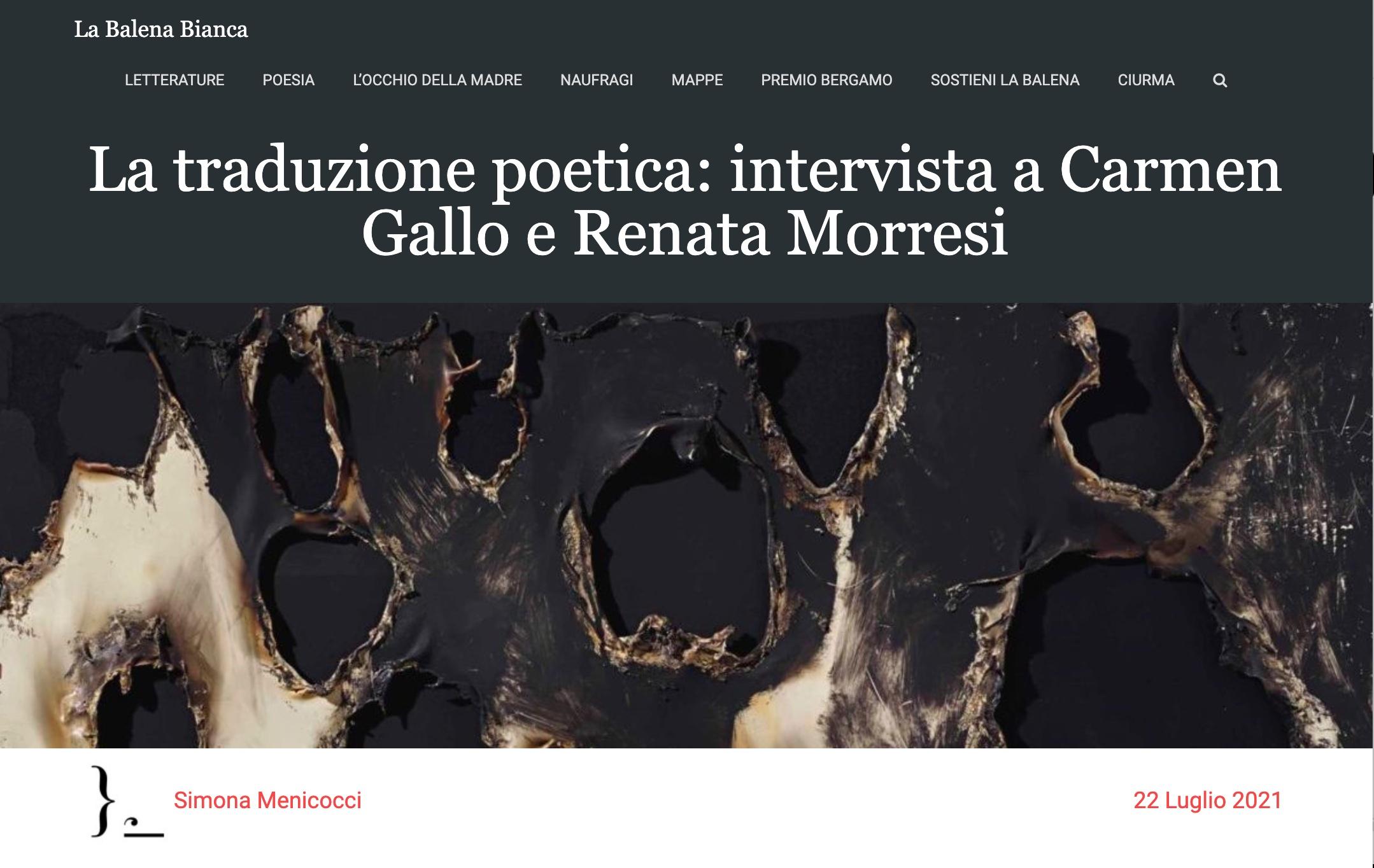 La traduzione poetica: intervista a Carmen Gallo e Renata Morresi
