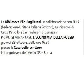 L'economia dellapoesia, seminario. Roma, 28ottobre